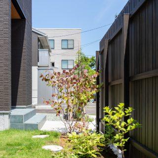 板塀の裏側は草花を植え、緑を楽しめるスペースに。