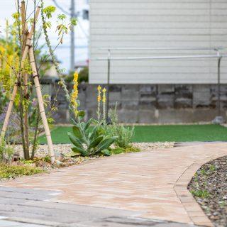 ペールブラウン調のレンガを使ったアプローチでお庭を明るい色調に。